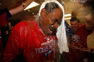 Ron Washington finally gets a real champagne bath