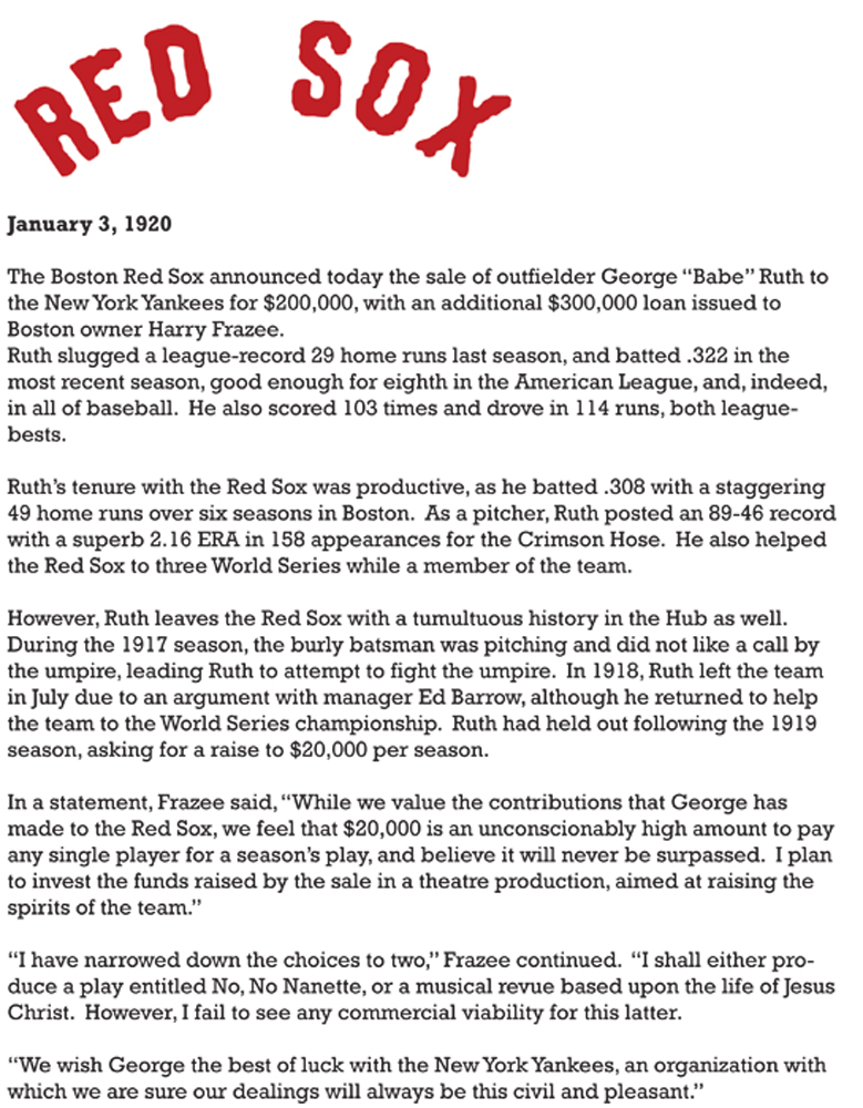 Red Sox Press Release